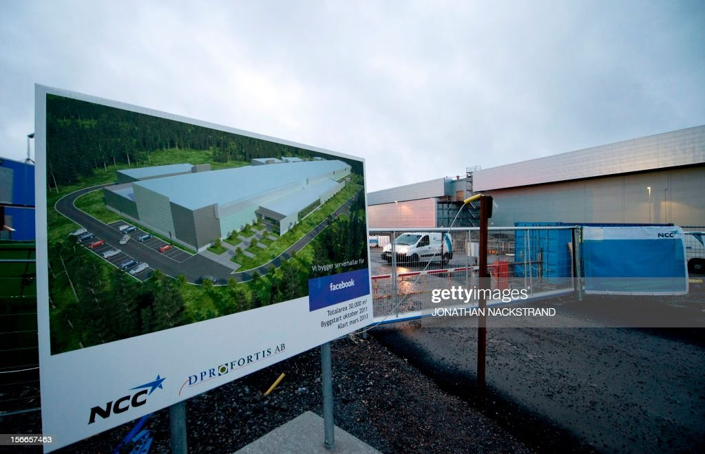 Picture taken on November 18, 2012 shows the construction site of the new Facebook Data Center and its first outside the US, in Lulea, in Swedish Lapland. The Lulea data center first server building is scheduled for completion by March 2013.