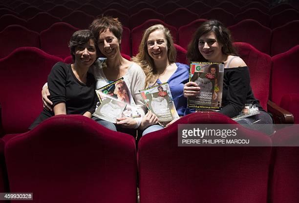 A picture taken on November 18 2014 shows actresses Karina Garantiva Esther Acevedo Paloma de Pablo and Maria Herrero posing with old pornographic...
