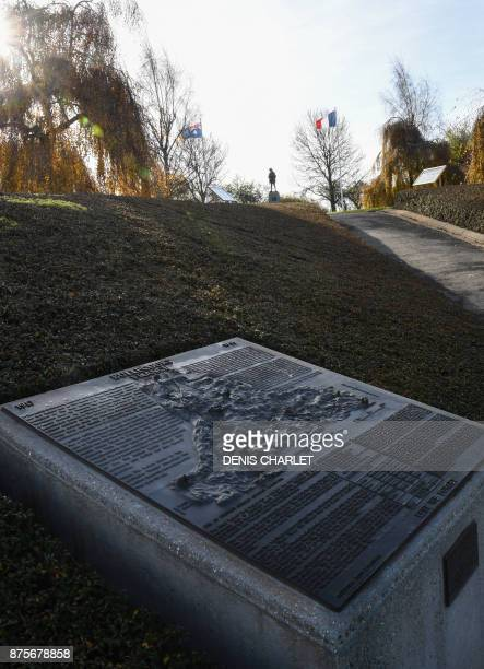 A picture taken on November 18 2017 in Bullecourt northern France shows a plaque at the WWI Australian memorial located on the Bullecourt battlefield...