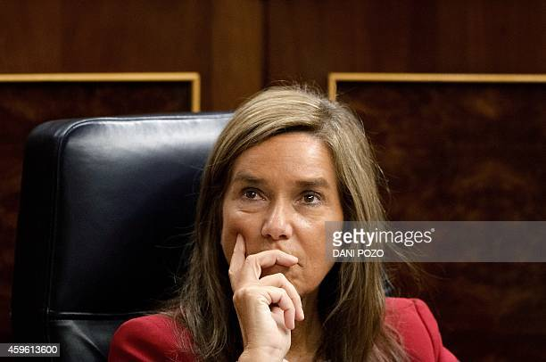 A picture taken on November 19 2014 shows Spain's Health Minister Ana Mato attending a control session of the Spanish parliament's lower house in...