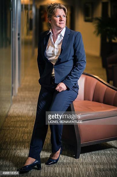 A picture taken on November 19 2015 shows SecretaryGeneral of the French Football Federation in charge of women's football development Brigitte...
