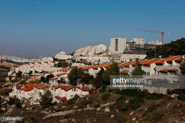 Picture taken on November 19, 2019 shows a general view of the Israeli settlement of Efrat near the Palestinian city of Bethlehem south of Jerusalem,...