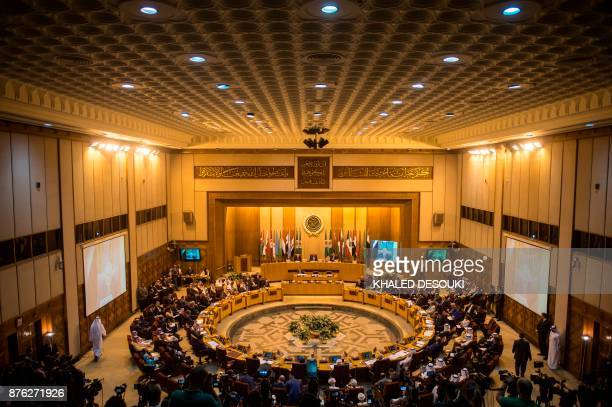 A picture taken on November 19 shows a general view of the Arab League headquarters during a meeting in the Egyptian capital Cairo Arab foreign...
