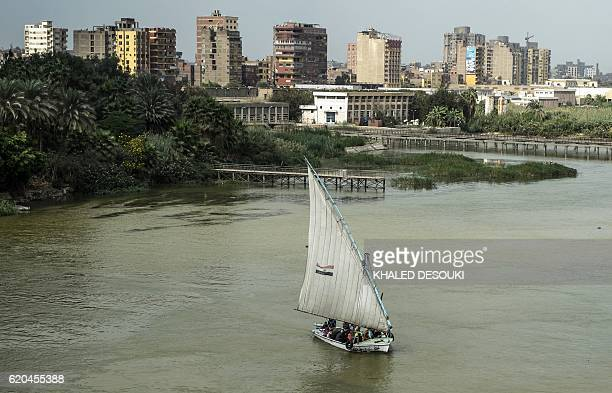 A picture taken on November 2 2016 shows an Egyptian felucca sailing along the Nile River in the capital Cairo Due to recent flooding in the southern...
