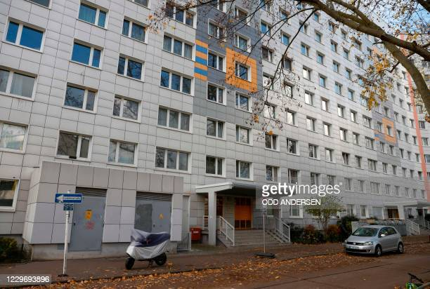 Picture taken on November 20, 2020 shows a residential building in Berlin's Lichtenberg district, where a presumed victim of cannibalism was reported...