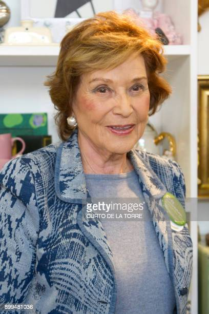 A picture taken on November 21 2014 shows Carmen Franco daughter of Spanish dictator Francisco Franco at the Crystal Palace in Madrid The only...