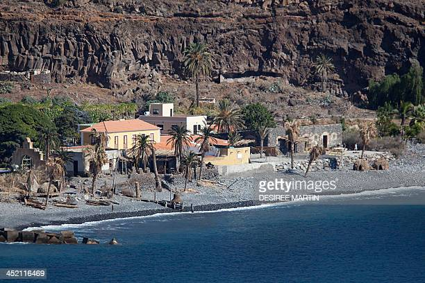 A picture taken on November 22 2013 shows one of the sets of the film 'In the heart of the sea' by US director Ron Howard in Playa de Santiago on the...
