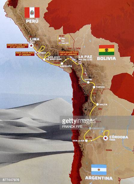 A picture taken on November 22 2017 shows the map of the 2018 Dakar rally official route during its presentation in Paris on November 22 2017 The...