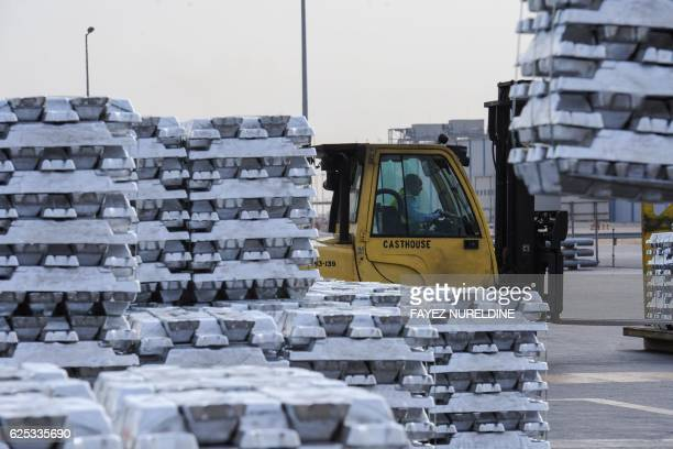 A picture taken on November 23 2016 shows hundreds of aluminium ingots produced by the Maaden Aluminium Factory on display in Ras AlKhair Industrial...