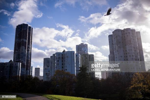 A picture taken on November 23 2017 shows The Tours Aillaud also known as Tours Nuages in Nanterre near Paris A symbol of the great utopian projects...