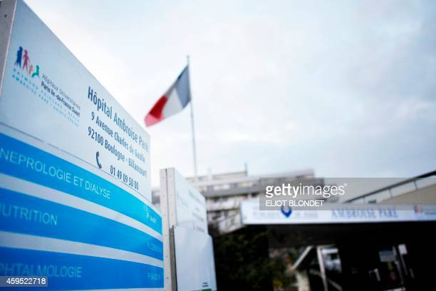 A picture taken on November 24 2014 shows the entrance of the Ambroise Pare hospital in BoulogneBillancourt AFP PHOTO / ELIOT BLONDET
