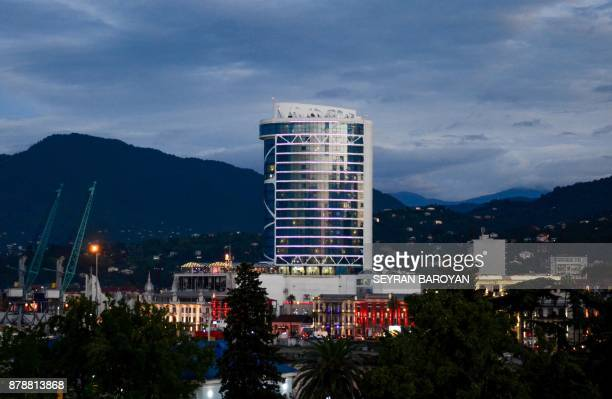 A picture taken on November 24 2017 shows a general view of the Leogrand hotel in Georgia's Black Sea resort city of Batumi At least 12 people died...