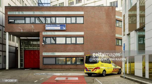 A picture taken on November 24 2019 shows an ambulance parked outside the Emergency Hospital in the UMC Utrecht in Utrecht The Netherlands where a...