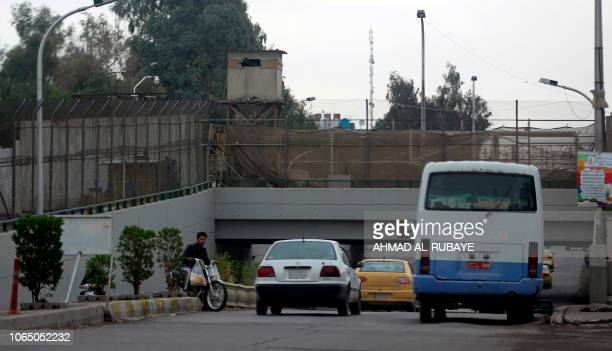 A picture taken on November 24 shows one of the entrances to Baghdad's fortified Green Zone The partial reopening of Baghdad's highsecurity Green...
