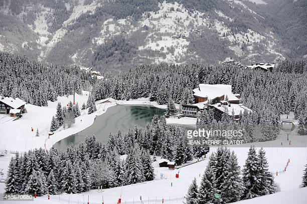 A picture taken on November 25 2015 shows an artificial lake for the production of artificial snow at the Courchevel 1850 ski resort in the French...