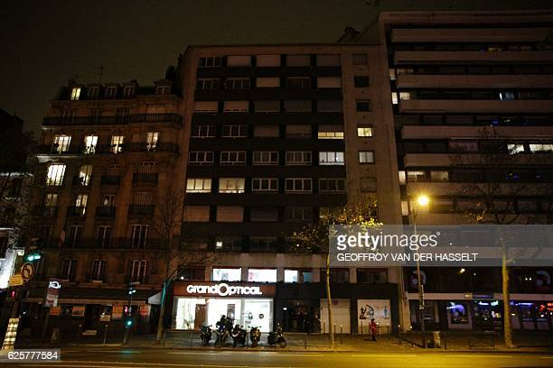 A picture taken on November 25 2016 shows a general view of the building where British photographer David Hamilton was found dead at his Parisian...