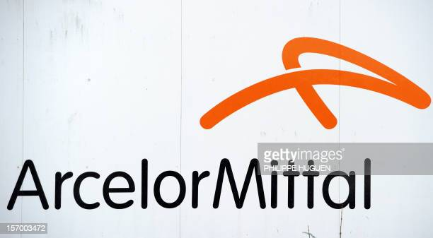 Picture taken on November 27 2012 shows the logo of ArcelorMittal at the factory in Dunkirk northern France France's President Francois Hollande was...