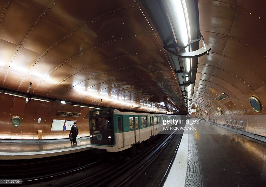 A picture taken on November 28, 2012 of a train arriving at the 'Arts et Métiers' metro station in Paris.