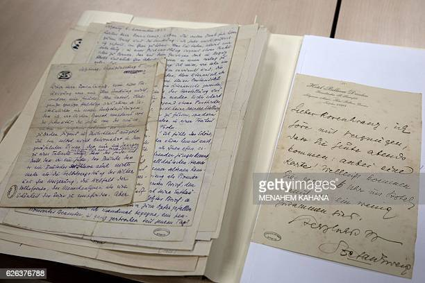 A picture taken on November 28 2016 at the Israels National Library in Jerusalem shows letters by Austrian author Stefan Zweig to a young man named...