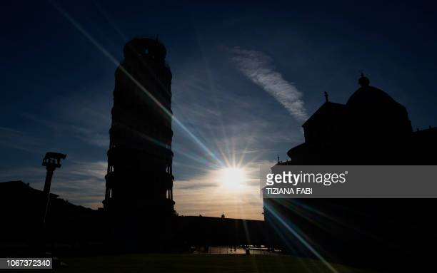 A picture taken on November 28 2018 shows the Pisa Tower in Pisa The Leaning Tower of Pisa is now stable and has even straightened slightly thanks to...