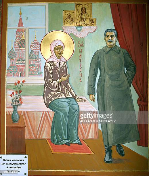 Picture taken on November 29 2008 shows a Russian Orthodox icon that includes a depiction of Sovietera leader Josef Stalin at a St Olga's Church...