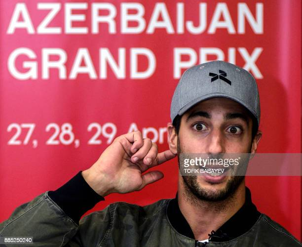 A picture taken on November 29 2017 shows Red Bull's Australian driver Daniel Ricciardo speaking during an AFP interview in Baku / AFP PHOTO / Tofik...