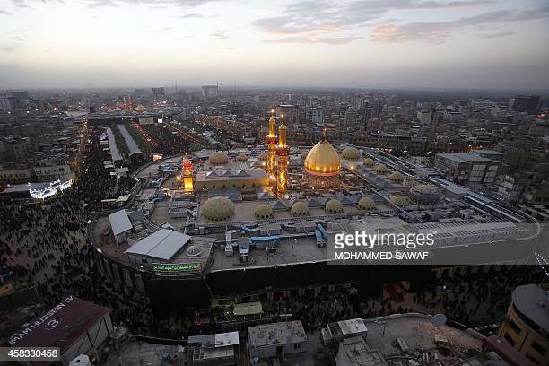 A picture taken on November 3 2014 shows the shrines of Shiite Muslim Imam Hussein and Imam Abbas in the central city of Karbala 80 km southwest of...