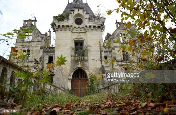 A picture taken on November 3 2017 shows a part of the ruined castle of La MotheChandeniers in Les TroisMoutiers central western France Specialized...
