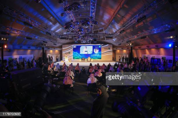 Picture taken on November 3, 2019 shows a general view of Saudi Aramco press conference in the eastern Saudi Arabian region of Dhahran. - Saudi...