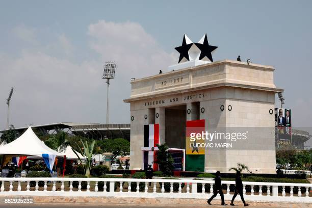 A picture taken on November 30 2017 shows the Independence square in Accra before a welcoming ceremony for France's President / AFP PHOTO / POOL /...