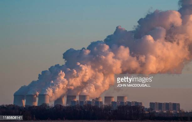 TOPSHOT A picture taken on November 30 2019 shows a view of the Jaenschwalde Power Station near Peitz eastern Germany The thirdlargest brown coal...