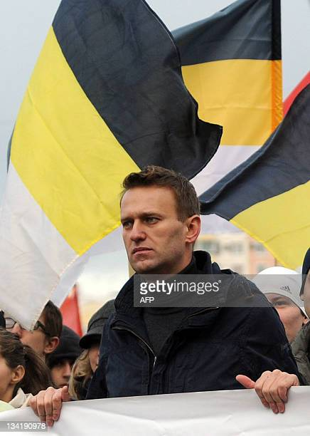 A picture taken on November 4 in the southeastern outskirts of Moscow shows influential blogger Alexei Navalny taking part in the socalled Russian...