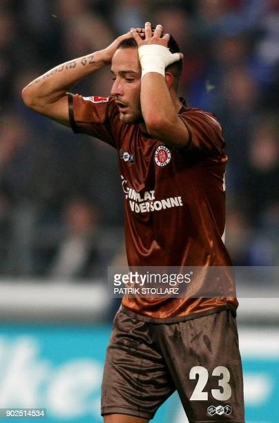 Picture taken on November 5 2010 shows then St Pauli's striker Deniz Naki reacting during the German first division Bundesliga football match FC...