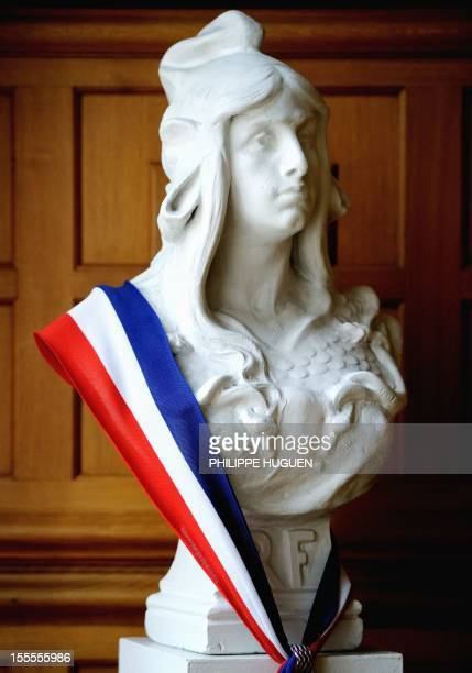 A picture taken on November 5 2012 shows a bust of Marianne symbol of the French Republic at the City Hall of Lille northern France AFP PHOTO...