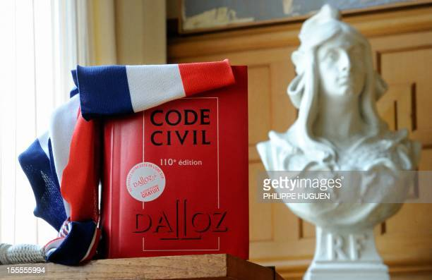 A picture taken on November 5 2012 shows a Civil code next to a bust of Marianne symbol of the French Republic at the City Hall of Lille northern...