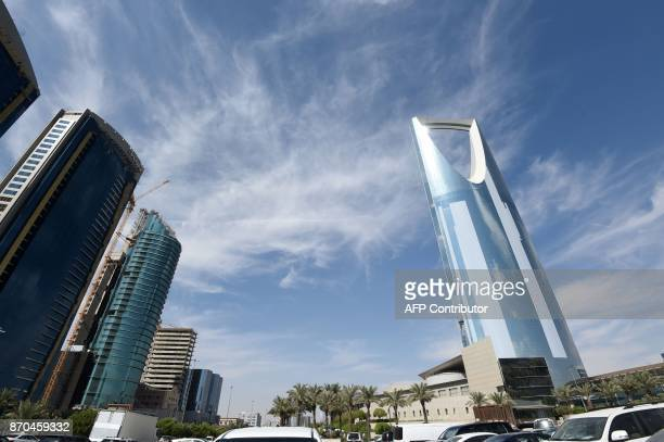 A picture taken on November 5 2017 in Riyadh shows the Kingdom Tower owned by Saudi billionaire AlWaleed bin Talal A day earlier Saudi Arabia...