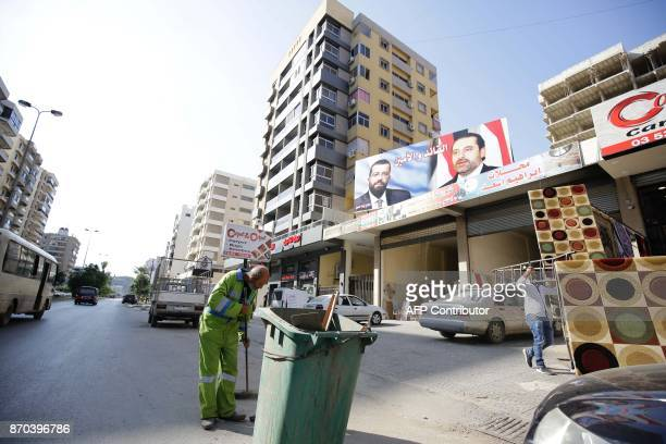 A picture taken on November 5 2017 shows a banner bearing a portrait of Lebanese Prime Minister Saad Hariri in the northern port city of Tripoli a...