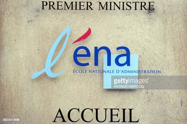 A picture taken on November 7 2011 in Strasbourg eastern France shows the entrance plaque of the new building of the Ecole Nationale d'Administration...