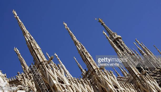 Picture taken on November 8 2007 of high rose marble spires of Milan's Duomo Cathedral Italian city Milan and Aegean city Izmir will seek to host the...