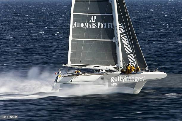 Picture taken on November 8 2009 off Hyeres southern France of the 'flying boat' Hydroptere a highspeed multihull prototype skipped by French Alain...