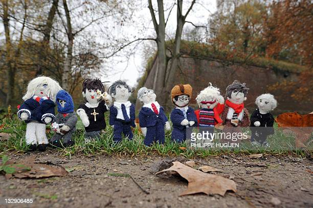MICHEL A picture taken on November 8 2011 at the Boulogne forest in Lille northern France shows figures knitted by a French female blogger from Lille...