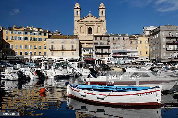 A picture taken on November 8 shows a general view of the old port of Bastia French Mediteranean Island of Corsica The Tour de France cycling race's...