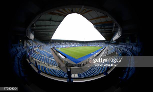 A picture taken on October 1 2019 in Genk shows Genk's Luminus Arena before a press conference of Italian club SSC Napoli ahead of the UEFA Champions...