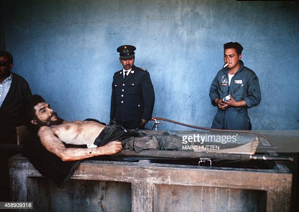 A picture taken on October 10 1967 shows the body of Ernesto 'Che' Guevara the Argentineborn hero of Latin American revolutionaries is on public...