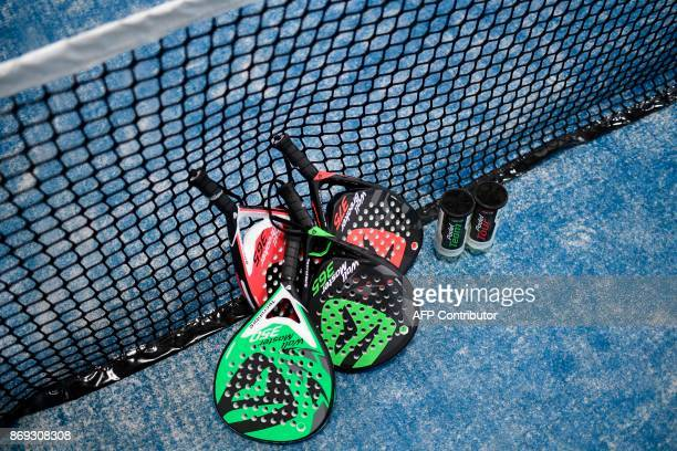A picture taken on October 10 2017 in Bois d'Arcy near Paris shows padel equipment Tennis champions like Nadal and Monfils have raise a new interest...