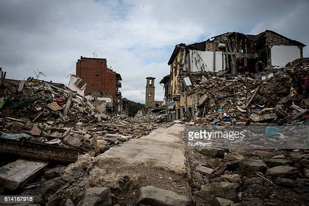 Picture taken on October 11, 2016 shows destruction in the village of Amatrice. Nearly 300 people died in the quake of August 24, 2016 and hundreds...