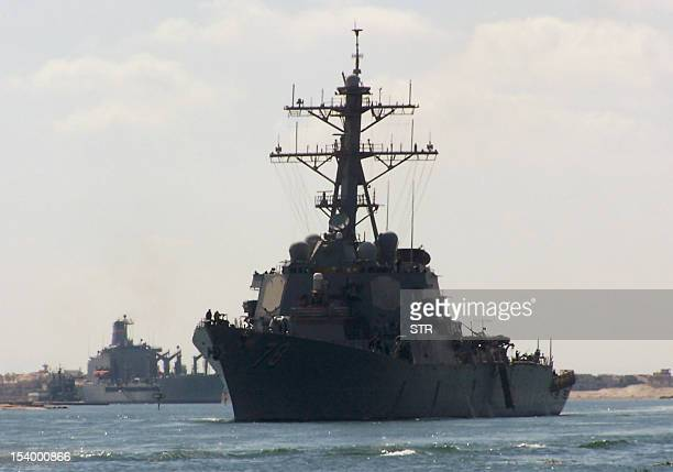 A picture taken on October 12 2012 from the Egyptian port of Ismalia 120 kilometers northeast of Cairo shows US army destroyer USS Porter crossing...