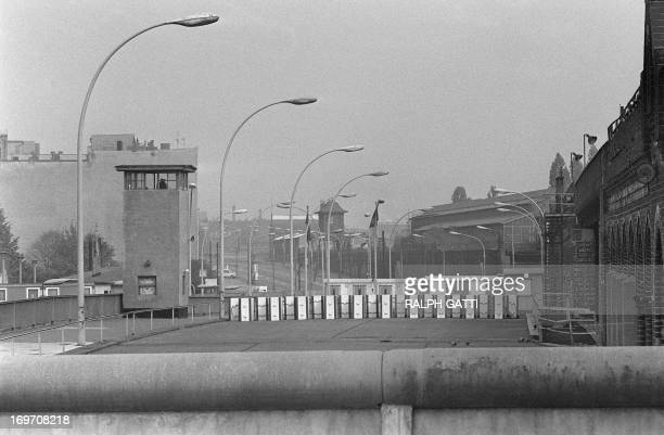 Picture taken on October 13 1976 of a watchtower on the bridge Oberbaumbruecke on the Spree river marking the border between East and West Berlin The...