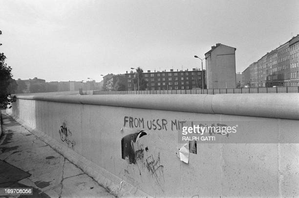 Picture taken on October 13 1976 of an inscription 'from USSR mit love' on the Berlin Wall The Berlin wall built by the East German government to...