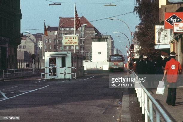 Picture taken on October 13 1976 of the famous Checkpoint Charlie crossing point marking the border between East and West Berlin The Berlin wall...